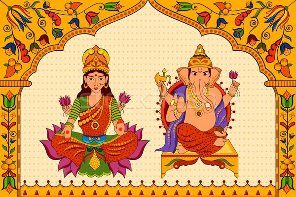 Goddess Lakshmi and Lord Ganesha in Happy Diwali background Stock photo © vectomart