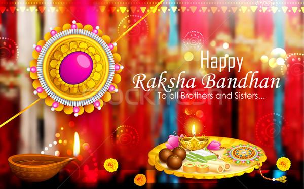 Decorated puja thali with rakhi for Raksha Bandhan Stock photo © vectomart