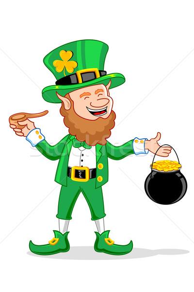 Leprechaun with Smoking Pipe and Gold Coin Pot Stock photo © vectomart