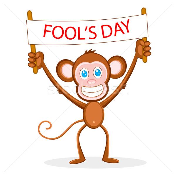 Monkey wishing Fool's Day Stock photo © vectomart