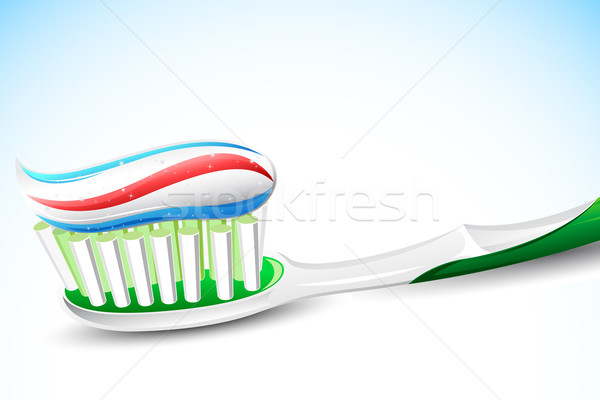 Tooth Paste on Tooth Brush Stock photo © vectomart