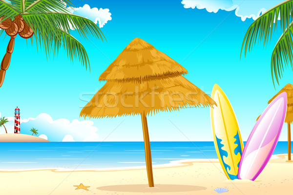 Surf bord illustration mer plage fond Photo stock © vectomart