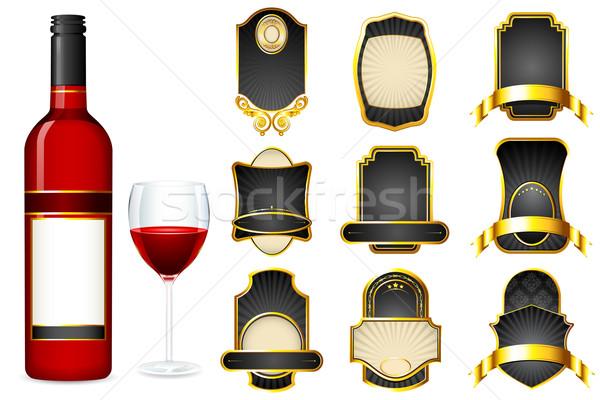 Garrafa de vinho diferente etiqueta ilustração projeto branco Foto stock © vectomart