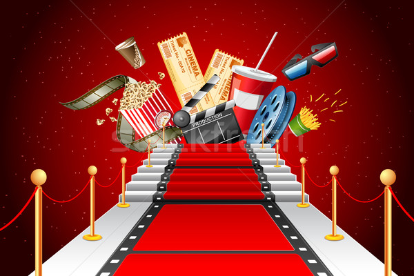 Rode loper entertainment illustratie film streep leggen Stockfoto © vectomart
