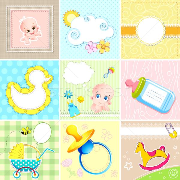 Set of Baby Arrival Card Stock photo © vectomart