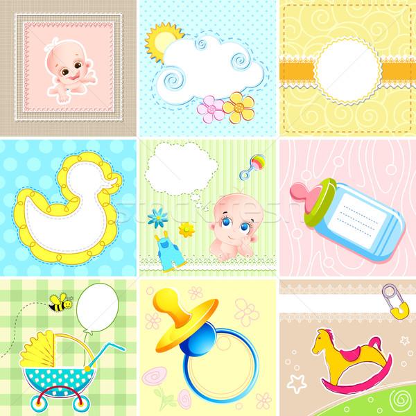 Ingesteld baby aankomst kaart illustratie exemplaar ruimte Stockfoto © vectomart