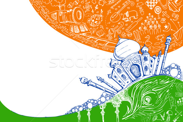 Taj Mahal on Tricolor Stock photo © vectomart