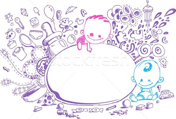 Baby aankomst kaart illustratie doodle stijl Stockfoto © vectomart