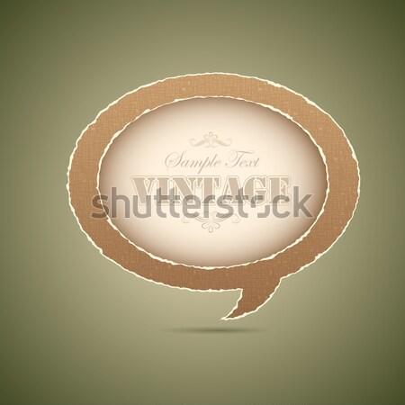 Vintage czat bańki ilustracja papieru stylu streszczenie Zdjęcia stock © vectomart