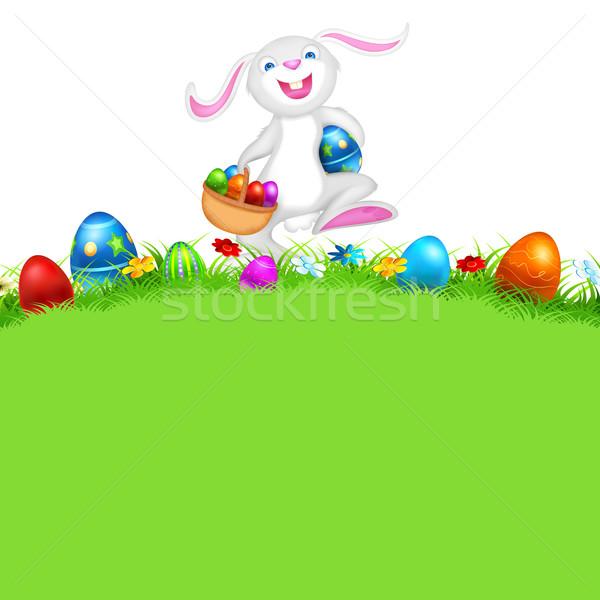 Kellemes húsvétot illusztráció boldog nyuszi sétál húsvéti tojás Stock fotó © vectomart