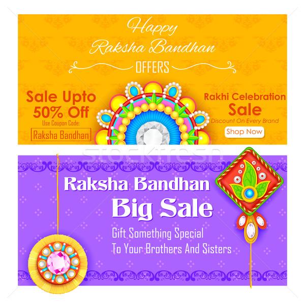 Decorative rakhi for Raksha Bandhan sale promotion banner Stock photo © vectomart