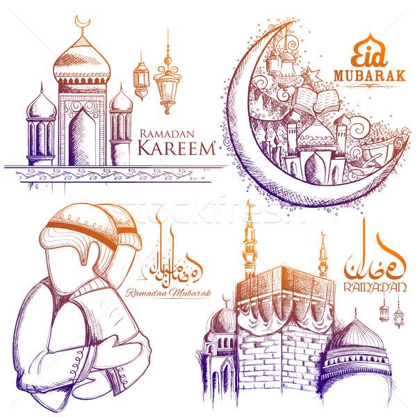 Ramadán nagyvonalú iszlám vallásos fesztivál szent Stock fotó © vectomart