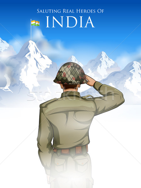 Indian Army soilder saluting falg of India with pride Stock photo © vectomart