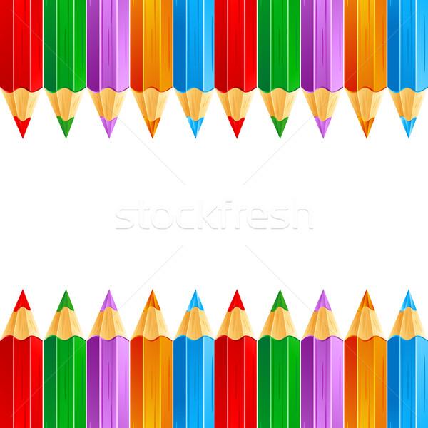 Színesceruza illusztráció csetepaté színes ceruza fehér Stock fotó © vectomart