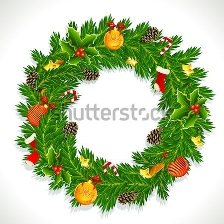 Noel çelenk örnek dekore edilmiş çam koni Stok fotoğraf © vectomart