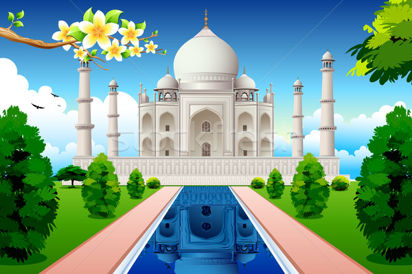 Vue Taj Mahal illustration lac jardin Photo stock © vectomart