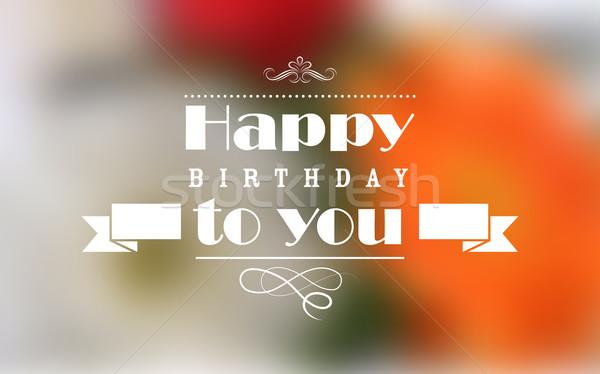 Feliz cumpleaños tipografía ilustración fiesta fondo diversión Foto stock © vectomart