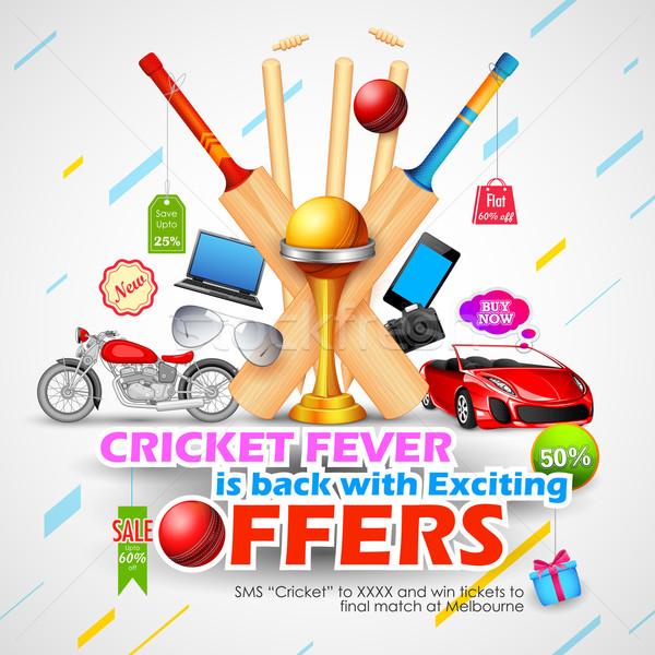 Vente promotion bannière cricket saison illustration Photo stock © vectomart