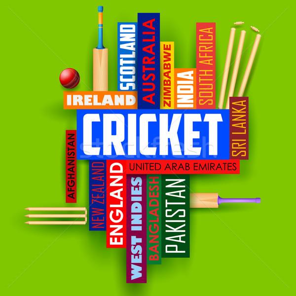Krikett tipográfia illusztráció különböző országok név Stock fotó © vectomart