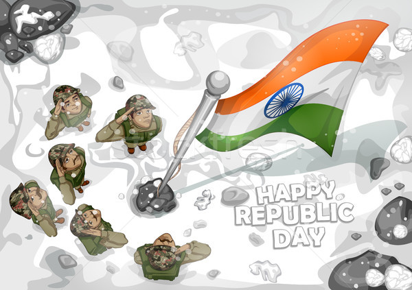 Indian Army soilder saluting falg of India on Happy Republic Day Stock photo © vectomart