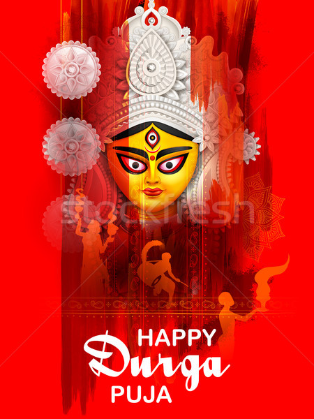 Goddess Durga Face in Happy Durga Puja Subh Navratri background Stock photo © vectomart