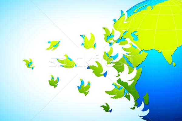 Mondo pace illustrazione colomba battenti terra Foto d'archivio © vectomart