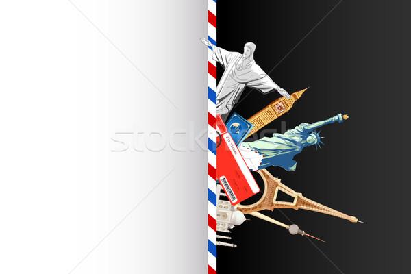 Világutazás csomag illusztráció repülés jegy híres Stock fotó © vectomart