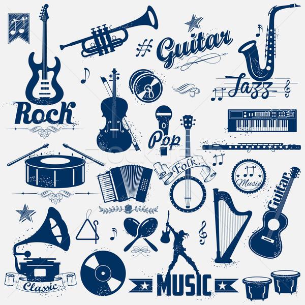 Retro müzik etiket örnek bağbozumu bakmak Stok fotoğraf © vectomart