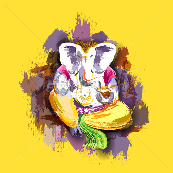 Lord Ganesha in paint style Stock photo © vectomart