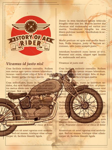 Vintage мотоцикл ретро иллюстрация дороги моде Сток-фото © vectomart