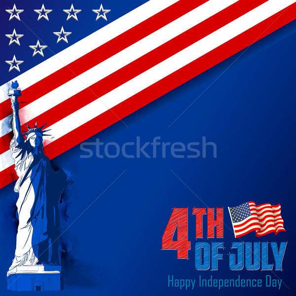 Cuarto día América ilustración estatua libertad Foto stock © vectomart