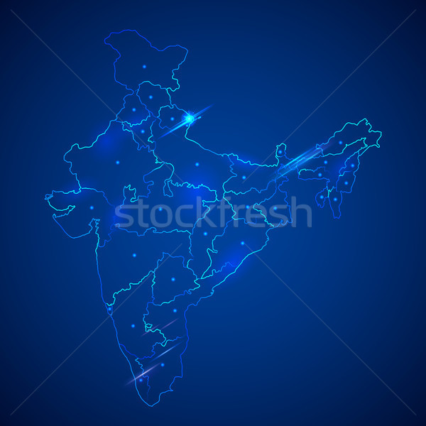 Detailed map of India, Asia with all states and country boundary Stock photo © vectomart