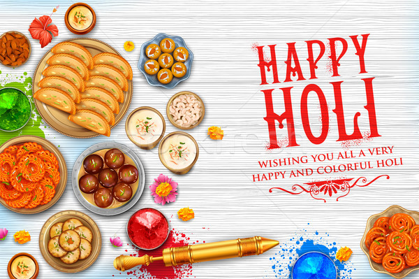 Powder color gulal and gujiya sweet with thandai for Happy Holi Background Stock photo © vectomart