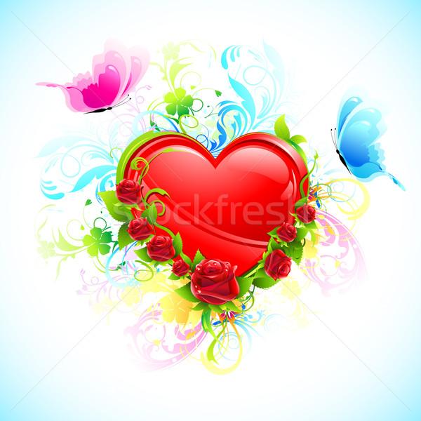 Floral corazón ilustración decorado flor vuelo Foto stock © vectomart