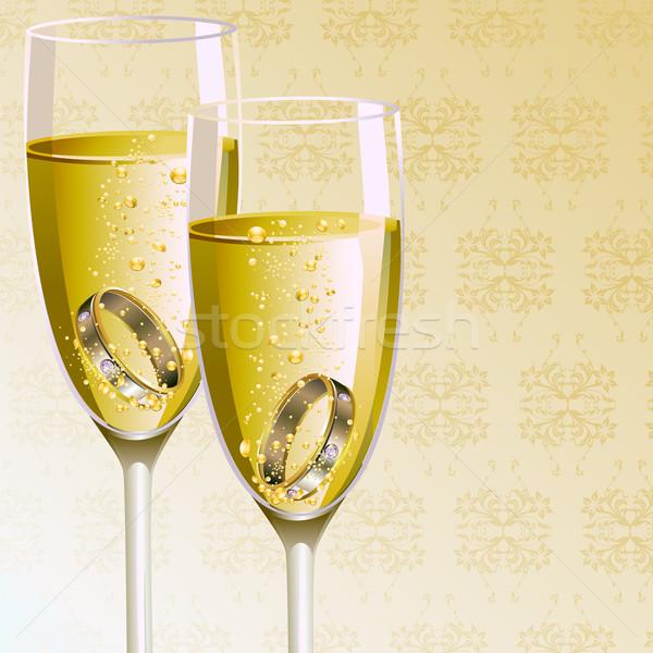 Bague de fiançailles champagne verre illustration paire mariage Photo stock © vectomart