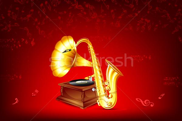 Stockfoto: Grammofoon · saxofoon · illustratie · musical · achtergrond · spreker