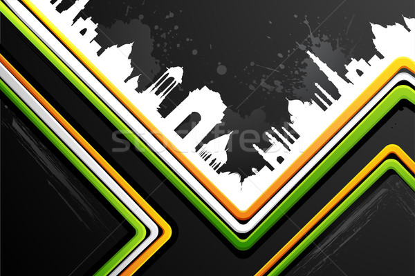 Indian City scape on Tricolor Background Stock photo © vectomart