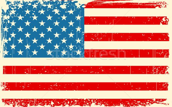 Retro amerikai zászló illusztráció koszos keret szín Stock fotó © vectomart