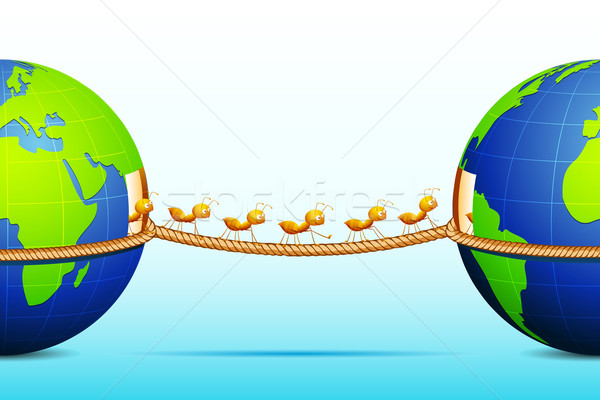 Stock photo: Ants connecting two World