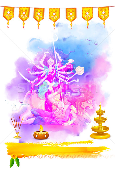 Goddess Durga in Happy Navratri Stock photo © vectomart