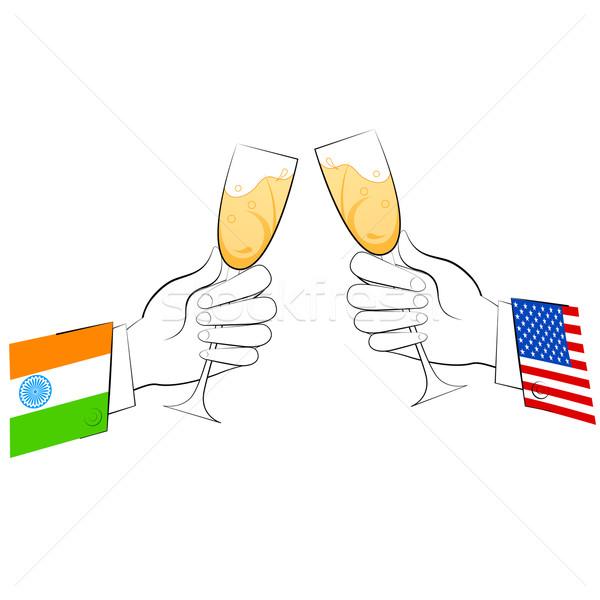 Stockfoto: Relatie · illustratie · toast · bril · tonen · wijn