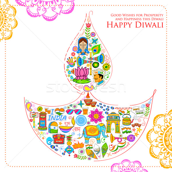 Happy Diwali background with India related things in diya shape Stock photo © vectomart