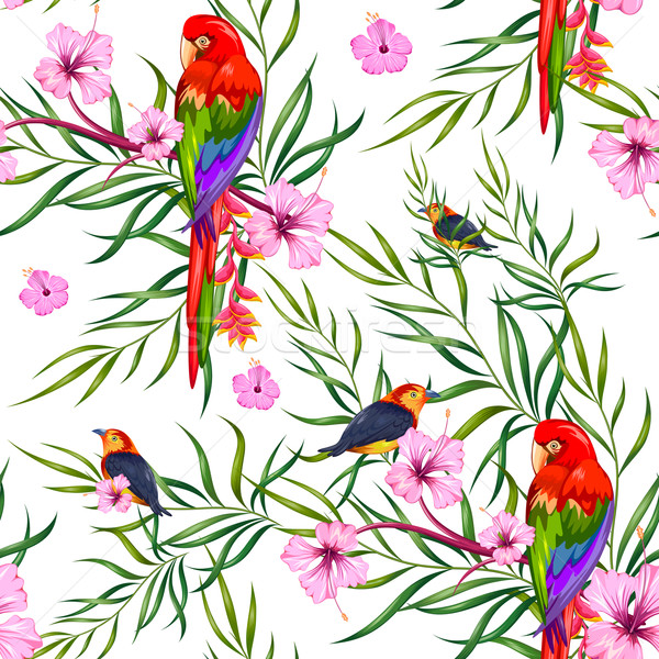 Seamless Pattern with Exotic Tropical Flower and colorful bird Stock photo © vectomart