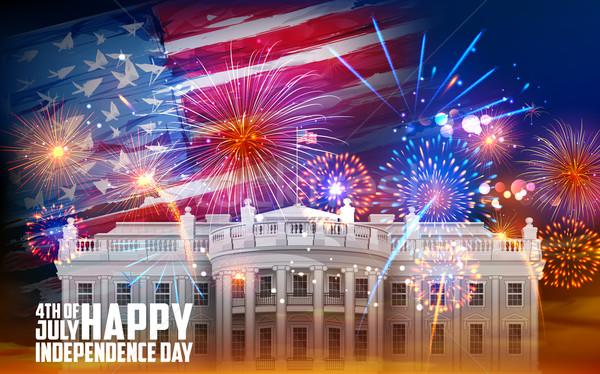Negyedik ünneplés illusztráció Egyesült Államok Amerika zászló Stock fotó © vectomart