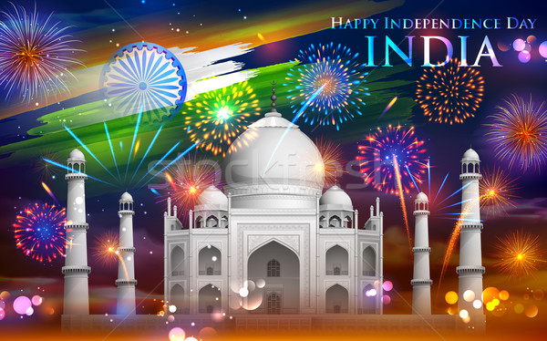Taj Mahal with Tricolor firework Stock photo © vectomart