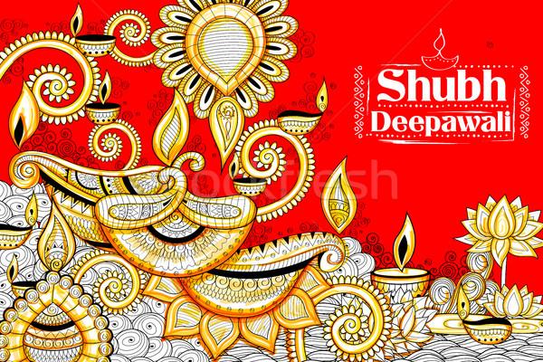 Ardor feliz diwali vacaciones garabato luz Foto stock © vectomart