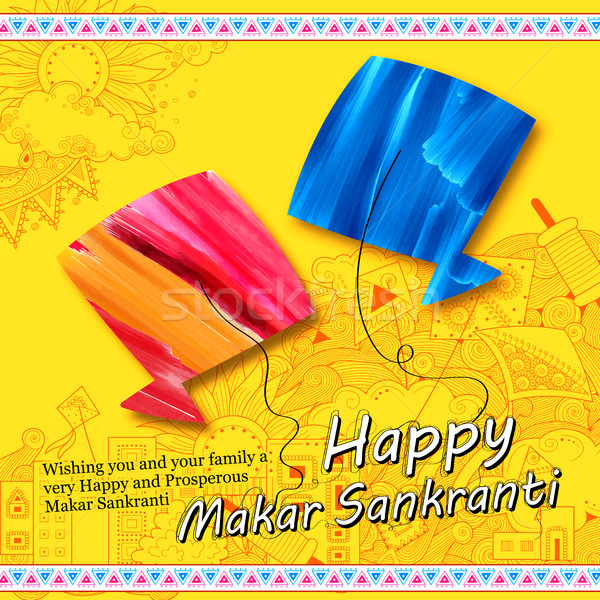 Makar Sankranti wallpaper with colorful kite for festival of India Stock photo © vectomart