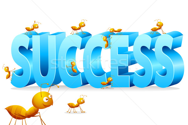 муравей скалолазания успех иллюстрация муравьев слово Сток-фото © vectomart