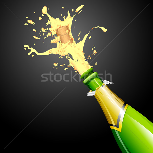 Explosion champagne bouteille Cork illustration fête Photo stock © vectomart