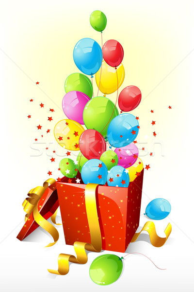 Balloons coming out of Goft box Stock photo © vectomart